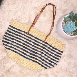 J. CREW Large Market Straw Tote Bag Jute